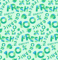 Vector green banner organic natural product. Vector set of colorful letters, numbers and symbols