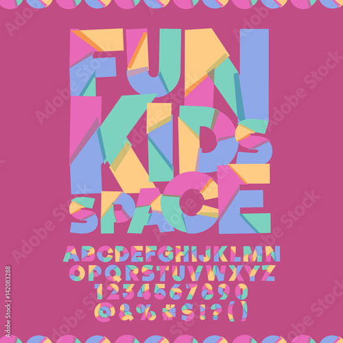 Cool Banner With Text Fun Kids Space Vector Set Of Colorful Letters