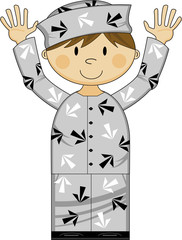 Cute Cartoon Prisoner in Arrow Uniform