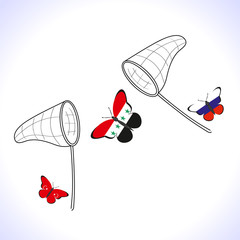Butterflis with the flag of Russia, Turkey and Syria and landing net