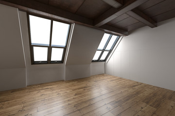 Empty interior of a converted attic