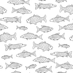 Fish seamless pattern in doodle style. Hand drawn