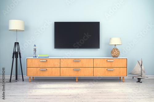 skandinavisches nordisches wohnzimmer mit einem sideboard und flatscreen textfreiraum. Black Bedroom Furniture Sets. Home Design Ideas