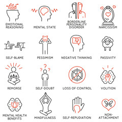 Vector set of 16 linear icons related to mindfulness, awareness, consciousness and mental conditions. Mono line pictograms and infographics design elements - part 1
