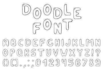 Doodle font. Hand drawn alphabet with numbers.