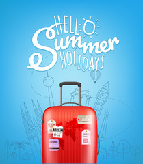 Color plastic travel bag with different travel elements vector illustration. Hello summer travel