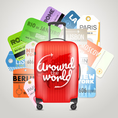 Different boarding pass collection and modern travel bag. World travel concept