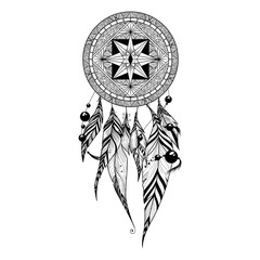 Dream catcher with feathers, ethnic design, vector illustration isolated on white