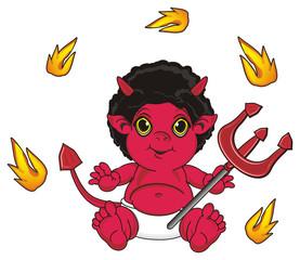 Hell, demon, devil, tail, red, horns, evil, fictional, fantasy, symbol, religion, sit, Pitchfork, trident, Orange, fire,