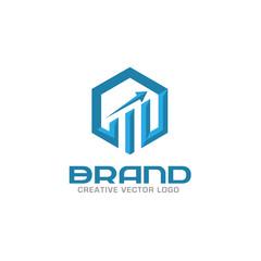 Business finance logo. Arrows and info graphic bar logo,  vector logo concept. Business economic logo