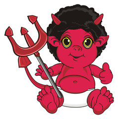 Hell, demon, devil, tail, red, horns, evil, fictional, fantasy, symbol, religion, sit, Pitchfork, trident, show, gesture, cool, class