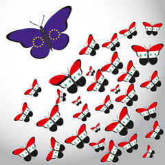 Butterflies with the flag of Syria and EU