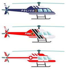Emergency concept. Detailed illustration of medical, police and fire helicopter in flat style on white background. Vector illustration.