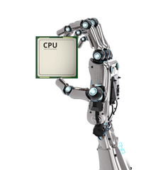 robot hand holding cpu chip