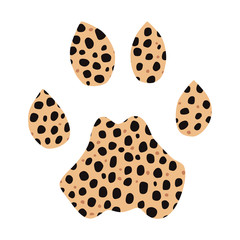 Isolated footprint of cheetah with skin print on white background.