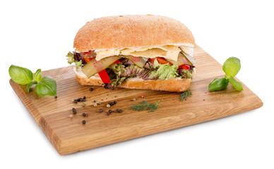 sandwich on wooden board