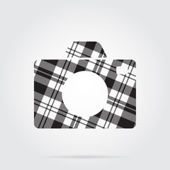 grayscale tartan isolated icon - camera