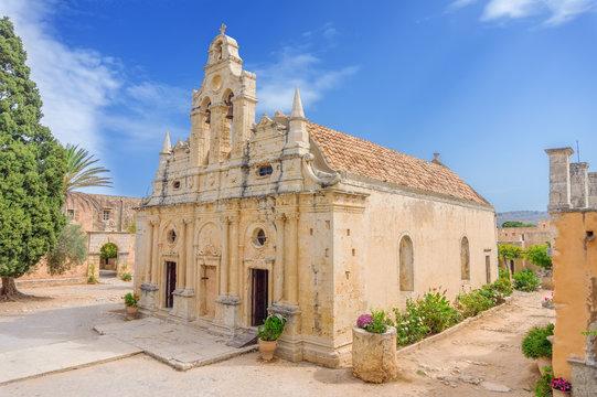 Venetian baroque church of the famous Arkadi Monastery at Crete
