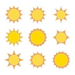 Set of flat sun icons. Vector illustration.