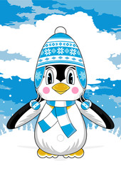 Cute Cartoon Wooly Hat Penguin