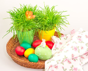Easter eggs and decoration with grass