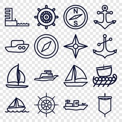 Set of 16 nautical outline icons