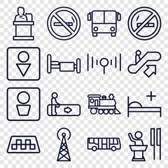 Set of 16 public outline icons