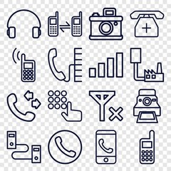 Set of 16 phone outline icons