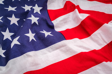 Closeup of American flag .