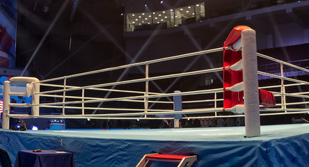 Boxing ring before the event Boxing Championship.