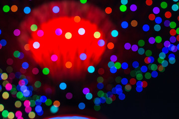 abstract blur light glowing circle bokeh neon in the dark, cityscape
