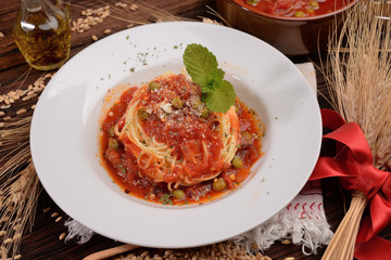 capellini Plate with tomato sauce and peas