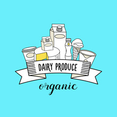 Dairy products. Healthy organic products. Vector illustration.