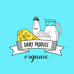 Healthy dairy products. Healthy organic products. Vector illustration.