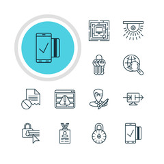 Vector Illustration Of 12 Privacy Icons. Editable Pack Of Send Information, Internet Surfing, Easy Payment And Other Elements.