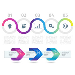 Colorful Infographic process chart and arrows with step up options. Vector.