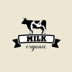 he emblem of the cow and the milk. Vector black and white sign.