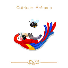 Toons series cartoon animals:  ara parrot / macaw set