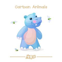 Toons series cartoon animals: Little fun hippo and cicadas