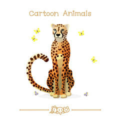 Toons series cartoon animals: cheetah and butterflies