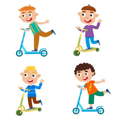 Cute vector illustration of boy on scooter having fun outside