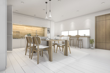 3d rendering white kitchen with bar and dining table