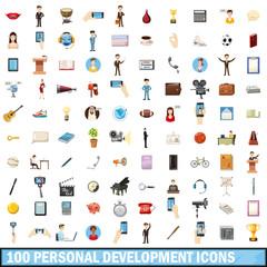 100 personal development icons set, cartoon style