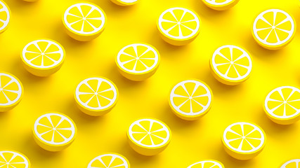 Collection of lemon fruits 3d illustration