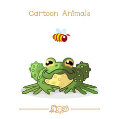 Toons series cartoon animals:  green toad and bee
