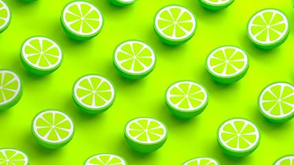 Collection of lime fruits 3d illustration