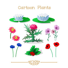 Plantae series cartoon plants: Flowers set