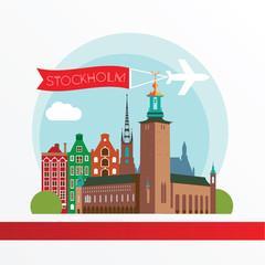 Stockholm Sweden skyline silhouette flat design vector illustration