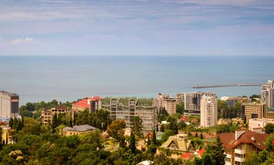 Panoramic view of resort town Sochi, Russia.