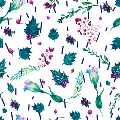 leaves and flowers seamless pattern. Hand painted illustration on geometric background